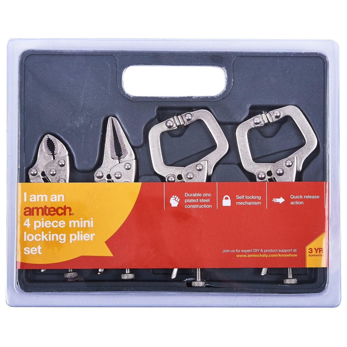 4pc mini locking plier set - Amtech