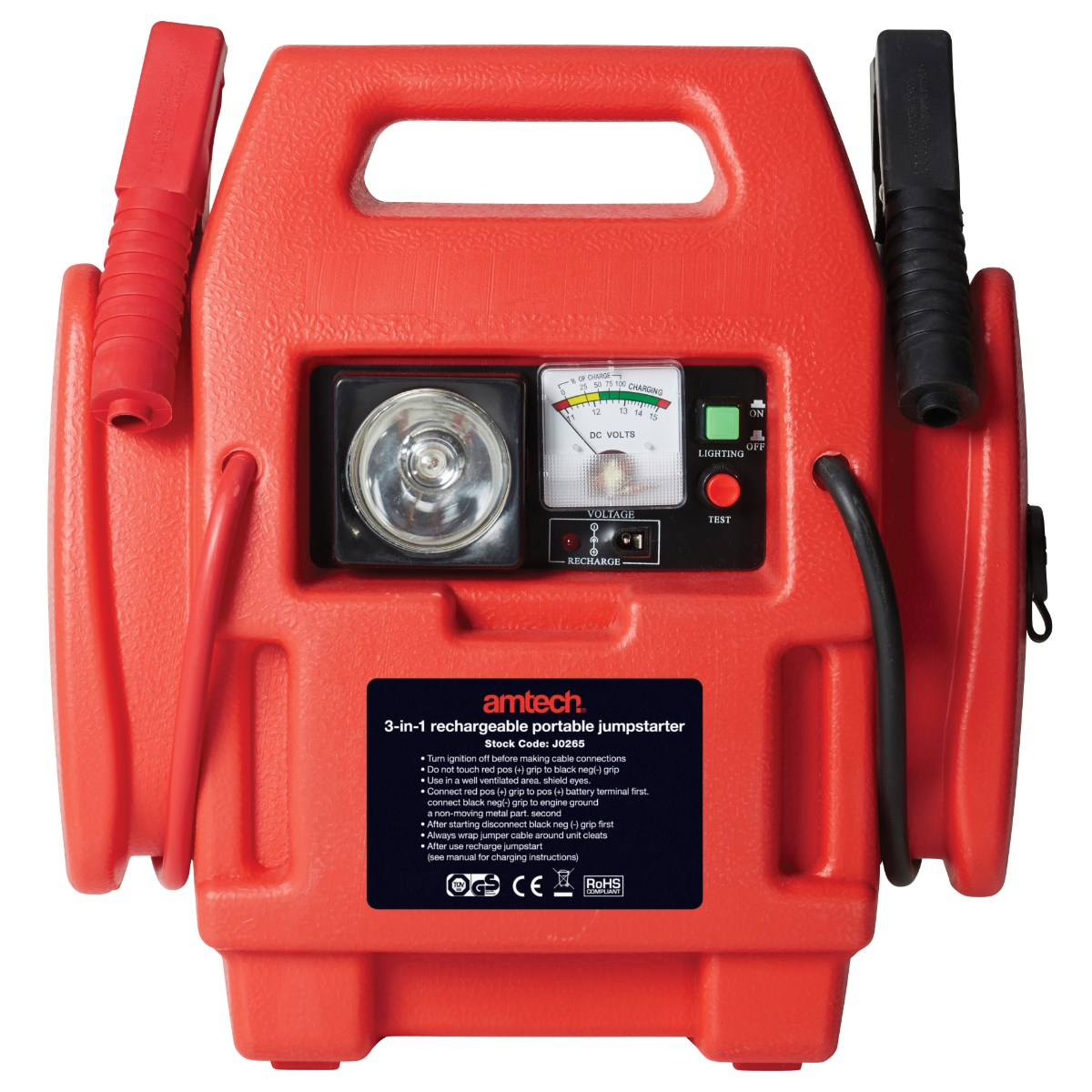 Image of 3-in-1 rechargeable portable jumpstarter