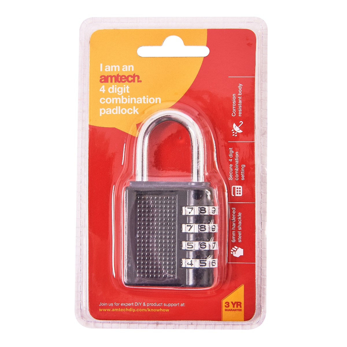 4 digit combination padlock - Amtech